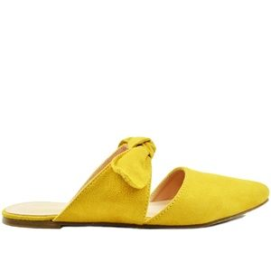 ⭐️Women's Yellow Suede With Bow Slide Sandal